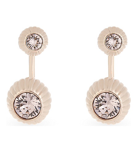 TED BAKER Areal crystal ball drop earrings (Light+pink