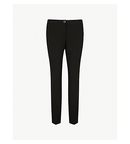 TED BAKER Ankle-grazing tapered stretch-crepe trousers (Black