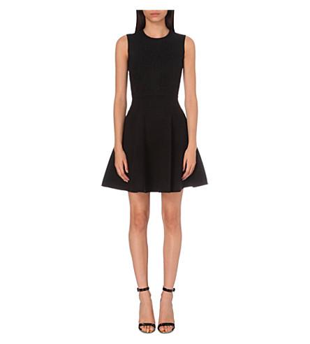 TED BAKER Floral-jacquard knitted skater dress (Black