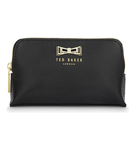 TED BAKER Miller geometric bow mini leather wash bag (Black