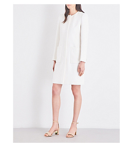TED BAKER Kirliye lace-detail crepe coat (White