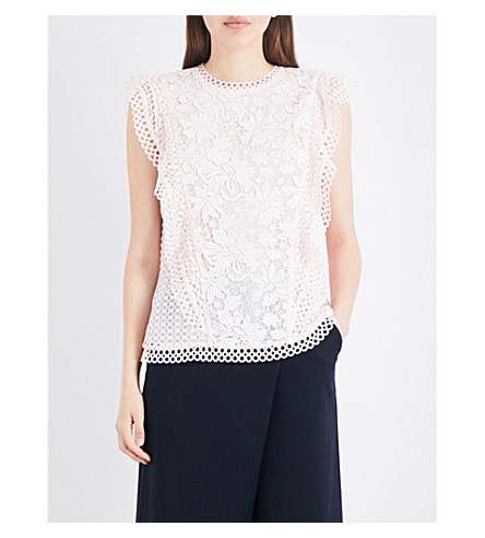 TED BAKER Ruffled lace top (Baby+pink