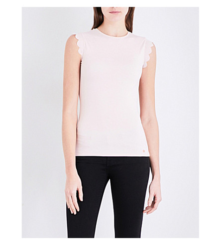 TED BAKER Elliah scallop-detail stretch-jersey T-shirt (Baby+pink