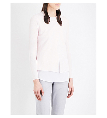 TED BAKER Denay asymmetric-overlay cotton-blend sweater (Baby+pink