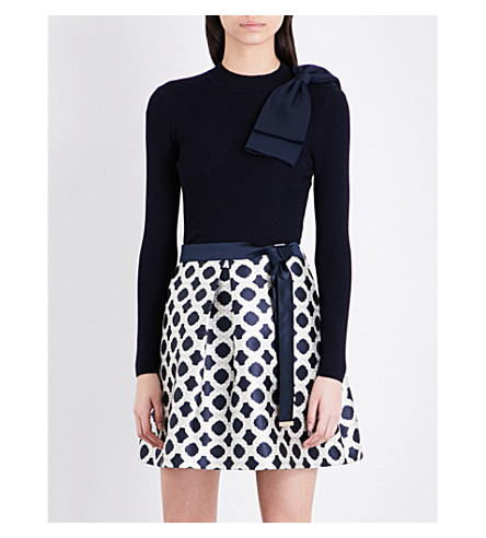 TED BAKER Nehru bow detail jumper (Dark+blue