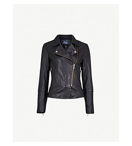TED BAKER Lizia peplum-hem leather jacket (Black