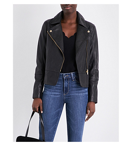 TED BAKER Lizia peplum-hem leather jacket (Black