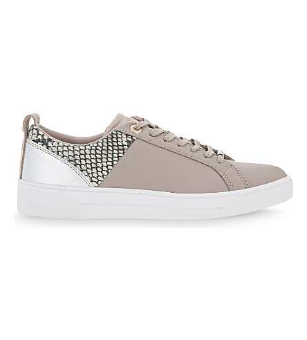 TED BAKER Kulei leather lace-up trainers (Mink