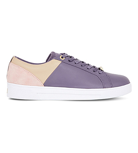 TED BAKER Colour by Number kulei leather lace-up sneakers (Deep+purple