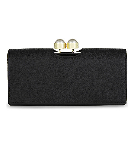 TED BAKER Liziliy pearl bobble leather matinee purse (Black