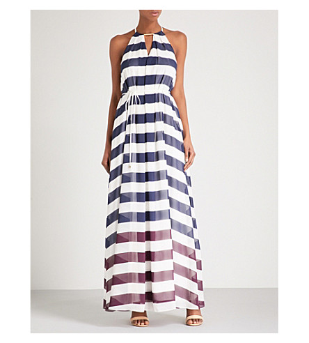 TED BAKER Aloes Rowing Stripe-print chiffon maxi dress (Navy