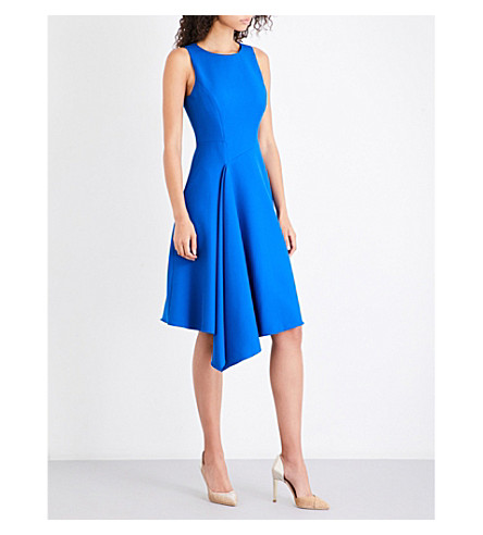 TED BAKER Arola asymmetric piqué dress (Mid+blue