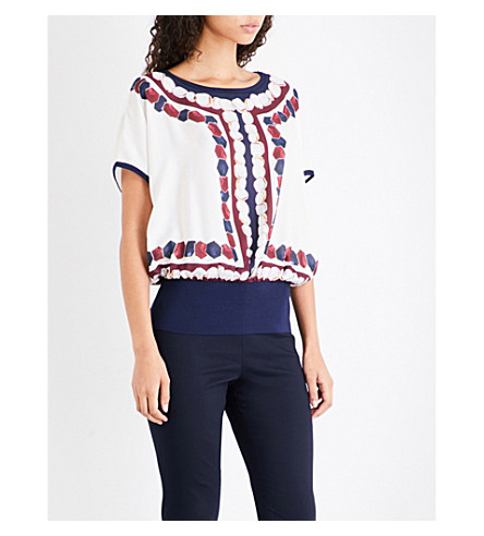 TED BAKER Farito Rowing Stripe-print chiffon top (Navy