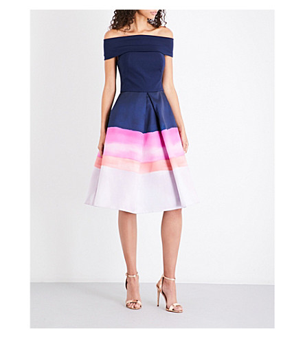 TED BAKER Hollii off-the-shoulder jersey and satin-twill dress (Navy