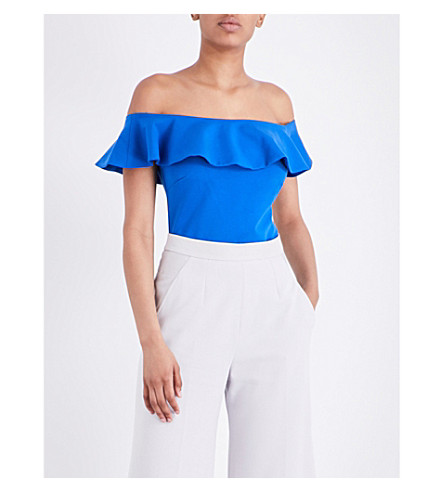 TED BAKER Perui frilled off-the-shoulder jersey top (Mid+blue