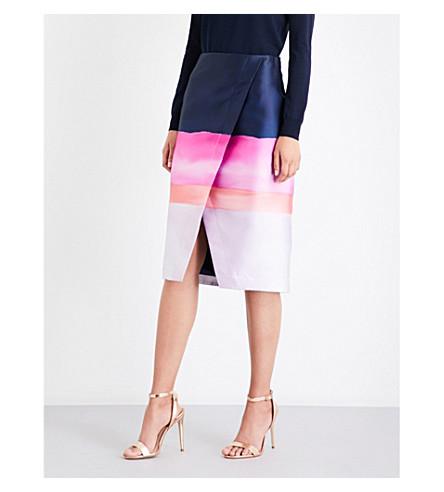 TED BAKER Foyie asymmetric-front satin-twill skirt (Navy