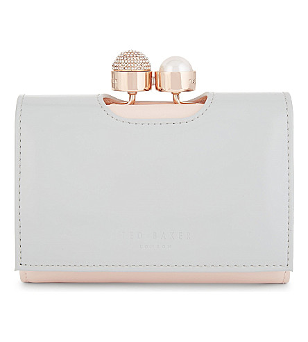 TED BAKER Two-tone small leather purse (Light+grey