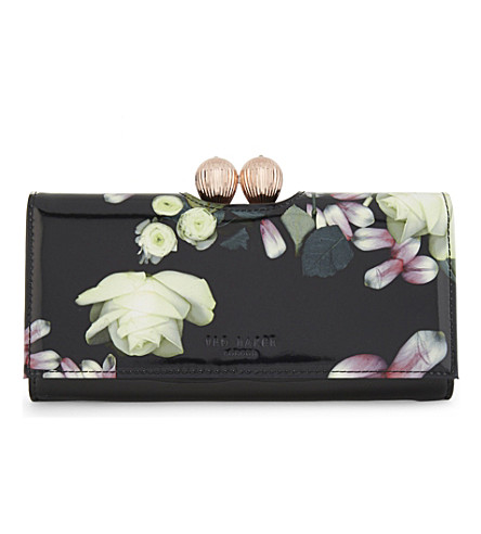 TED BAKER Kensington floral leather matinee purse (Black