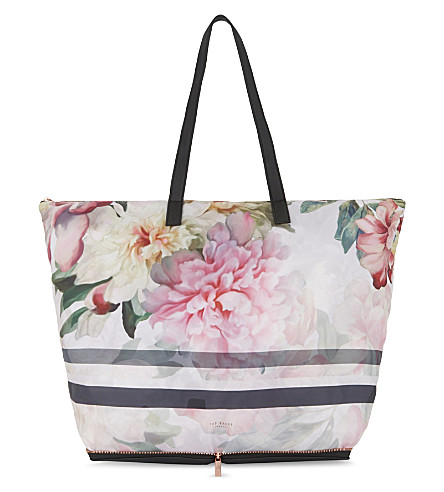 TED BAKER Otallie Painted Posie foldaway shopper (Baby+pink