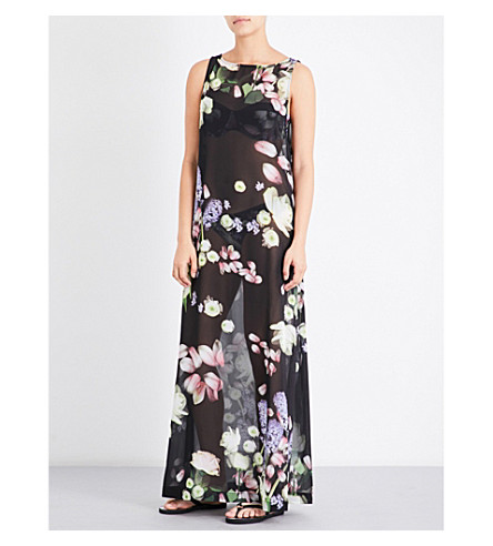 TED BAKER Kensington floral-print chiffon cover-up (Black