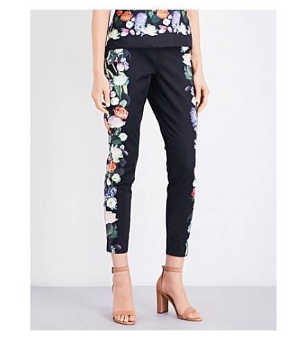 TED BAKER Bayner Kensington Floral-print tapered stretch-cotton trousers (Black