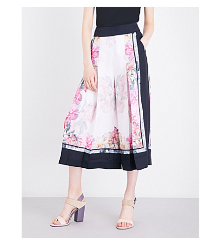 TED BAKER Kilian high-rise wide-leg crepe culottes (Baby+pink