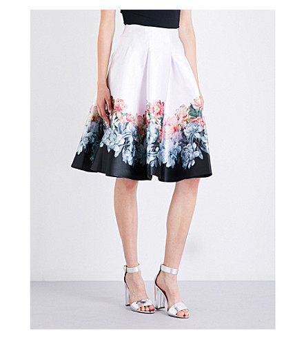 TED BAKER Celfa painted posie-print satin-twill skirt (Baby+pink