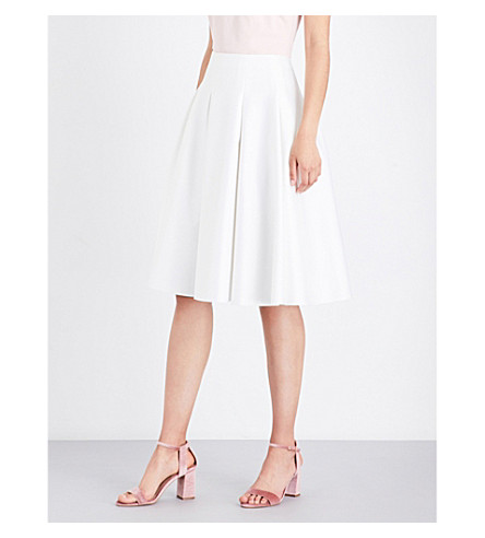 TED BAKER Tylea high-rise satin midi skirt (Ecru