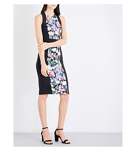 TED BAKER Kensington floral-print bodycon dress (Black