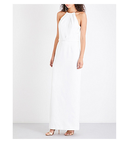 TED BAKER Chain-detail halterneck crepe maxi dress (Ecru
