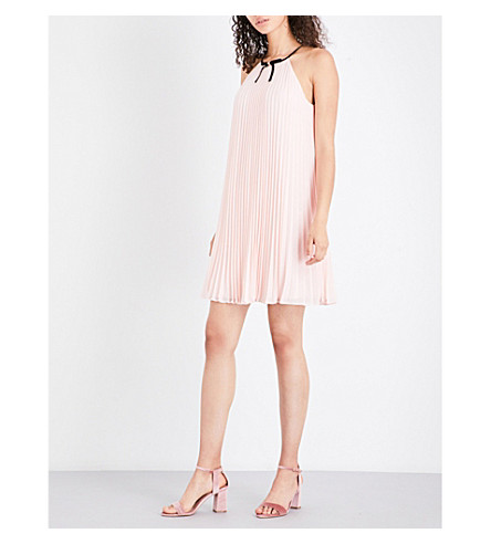 TED BAKER Emelay pleated halterneck chiffon dress (Baby+pink
