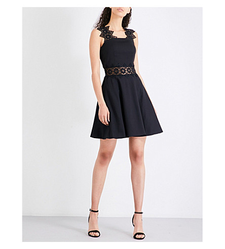 TED BAKER Monaa lace-trimmed cotton-blend dress (Black