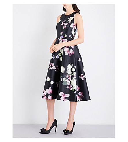 TED BAKER Kensington Floral-print woven midi dress (Black