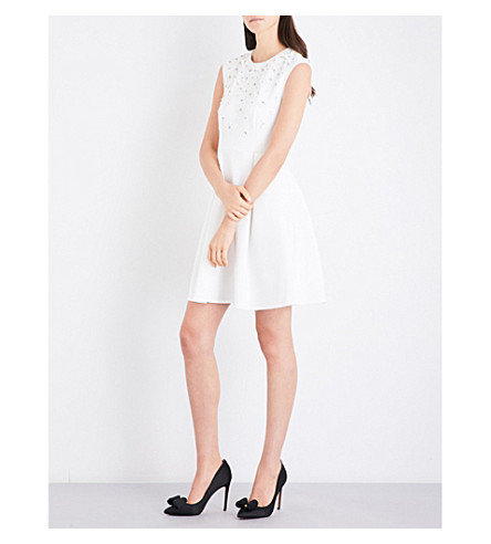 TED BAKER Yardara embellished neoprene skater dress (Ecru