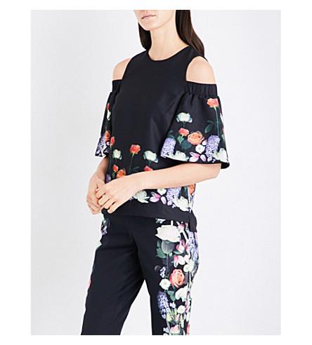 TED BAKER Kensington floral-print cold-shoulder top (Black
