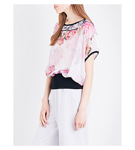 TED BAKER Fitsay floral chiffon top (Baby+pink
