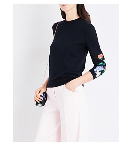 TED BAKER Deyzie Kensington Floral-embroidered knitted jumper (Black