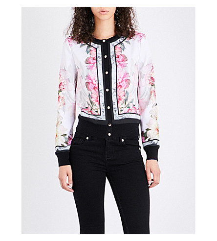 TED BAKER Kallai floral crepe cardigan (Baby+pink