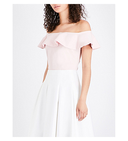 TED BAKER Perui frilled off-the-shoulder jersey top (Baby+pink
