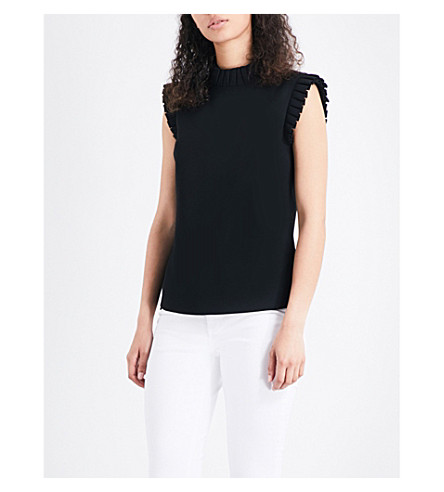 TED BAKER Tayya frilled-trim crepe top (Black