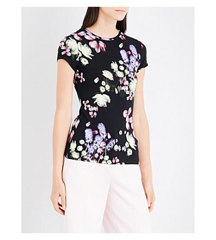 TED BAKER Villeaw Kensington Floral-print jersey T-shirt (Black