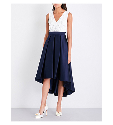 TED BAKER Swanse dipped-hem crepe dress (Dark+blue