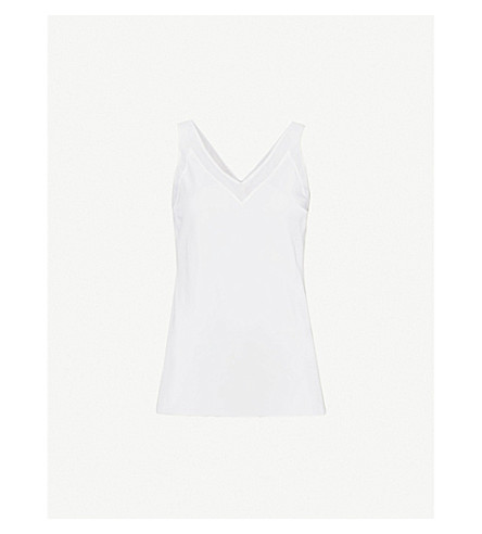 TED BAKER Leiaa mesh-trim silk top (Ivory