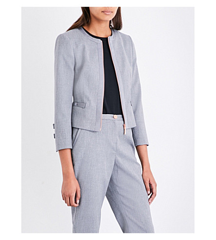 TED BAKER Bow-detailed woven jacket (Mid+grey