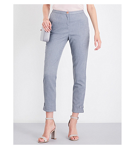 TED BAKER Mid-rise skinny cropped woven trousers (Mid+grey