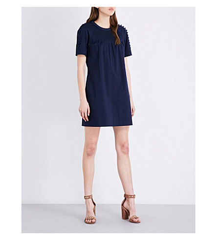 TED BAKER Colour By Numbers stretch-cotton dress (Navy
