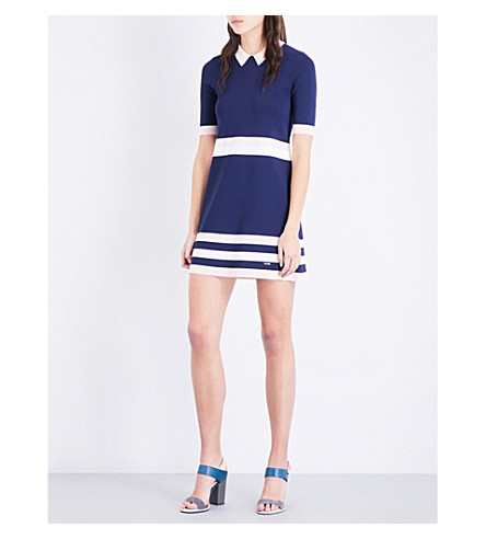 TED BAKER Colour by Numbers origami striped knitted dress (Navy