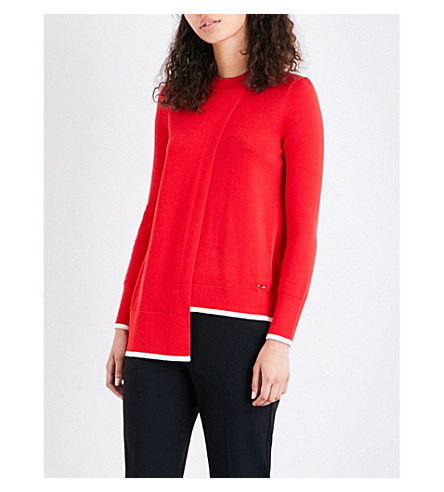 TED BAKER Colour By Numbers Ginati asymmetric cotton-blend jumper (Orange