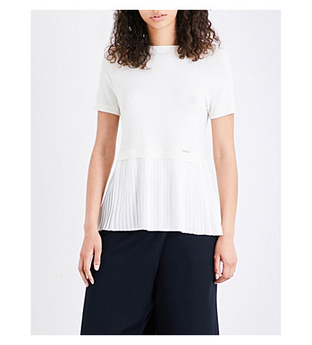 TED BAKER Colour by Numbers Gutai knitted top (Ivory
