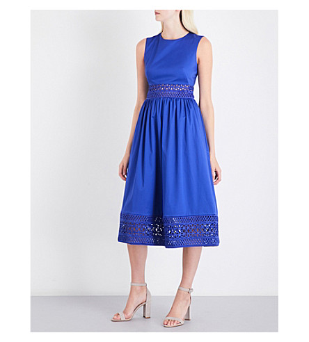 TED BAKER Lace-detail cotton-blend dress (Mid+blue